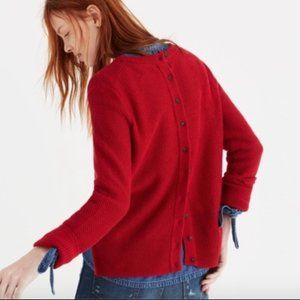 Madewell Backroad Button Back Red Sweater Knit